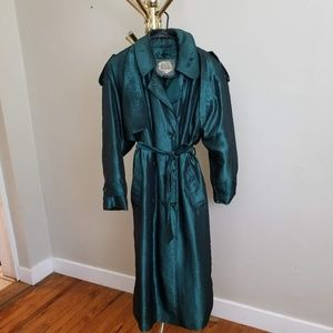 Vintage Nylon Trench Coat in Teal Green. SZ 12